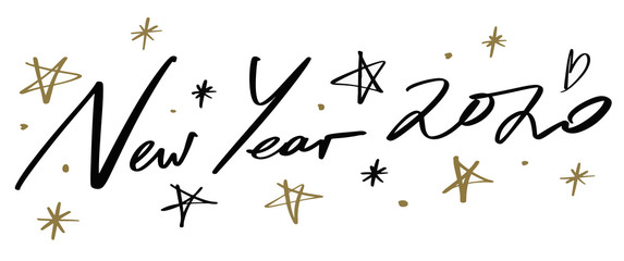 Happy new year 2020 quote, vector lettering text and golden stars set for design greeting cards and posters, photo overlays, prints and more. Hand drawn