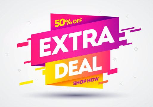 Vector Illustration Colorful Extra Deal Offer Sale Banner.