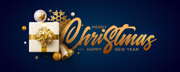 Merry Christmas and New Year greeting card design.
