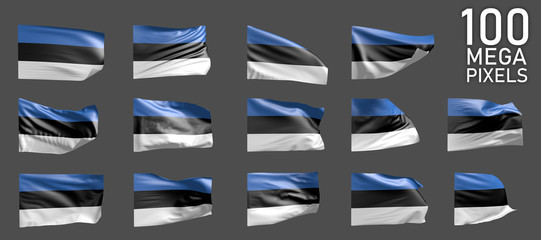 14 different pictures of Estonia flag isolated on grey background - 3D illustration of object