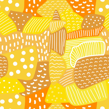 Vector seamless abstract geometric doodle pattern. Orange and yellow shapes with white stripes and polka dots.
