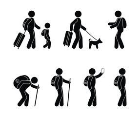 tourist icon, travel with children, traveler with a dog, stick figure people pictograms, character set, human silhouette