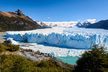 Tourists on observation deck looking at Perito Moreno Glacier, Los Glaciares National Park in Santa Cruz Province, Argentina