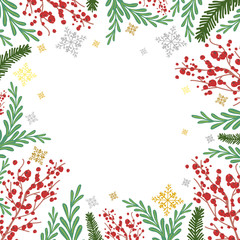 Winter frame with rowan, fir tree branches and snowflakes vector cartoon background.