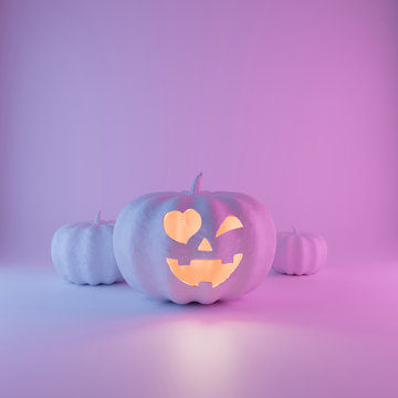 Halloween neon glowing Pumpkin with friendly face on pastel pink blue and violet  background. Trendy fun pumpkins set concept with copy space. 3d rendering illustration.