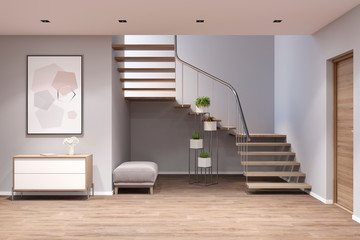 3d illustration. Entrance hall with stairs, picture, stand, bench and plants. Front view