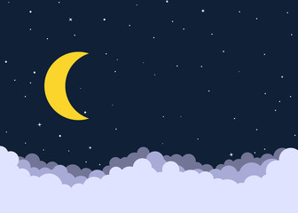 Night cloudy sky background with moon and shining stars - Vector illustration