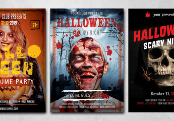 Halloween Flyer Layout with Stylized Text