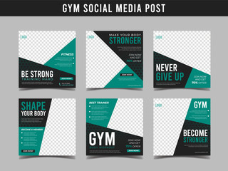 Gym square banner template. Promotional banner for social media post, web banner and flyer Vol.9