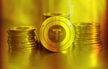 Tether (USDT) digital crypto currency. Stack of golden coins. Cyber money.