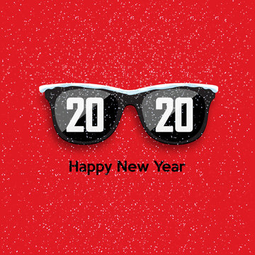 Black hipster glasses on snowfall background. 2020 Happy New Year and Merry Christmas. Vector illustration.