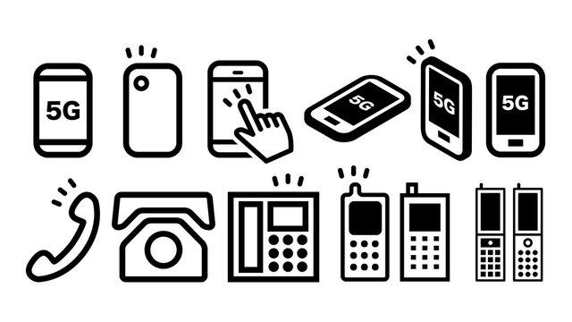 スマホ電話5Gアイコンの白黒ベクターイラスト素材セット