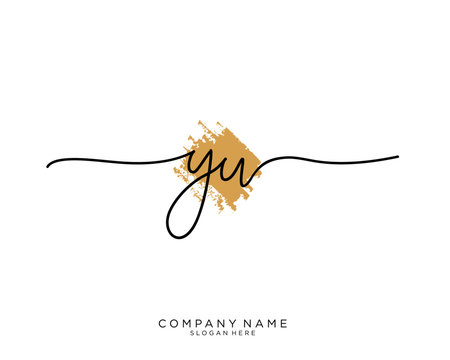 YW Initial handwriting logo vector