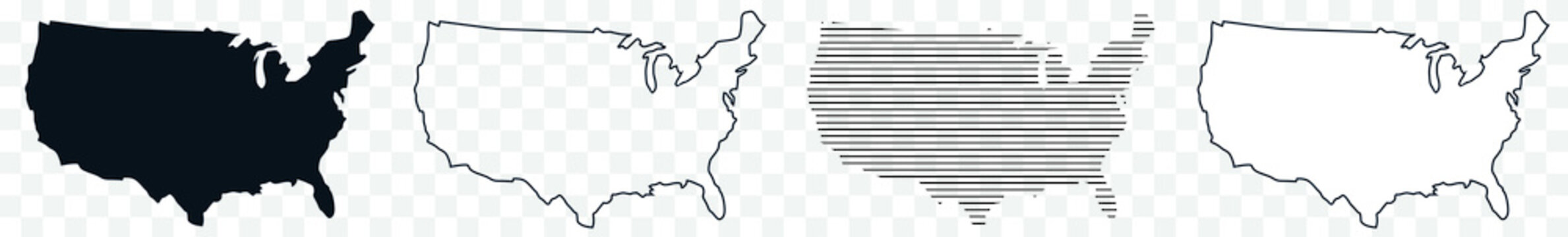US Map Black | USA Border | United States Country | America | Transparent Isolated | Variations