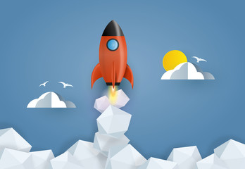 Rocket launch.  Concept of business start-up, boost or success