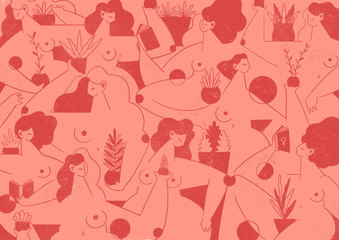 Illustration of Women with Plants