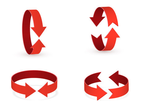 3D rotation sign red icon. 360 rotation arrows Sign.
