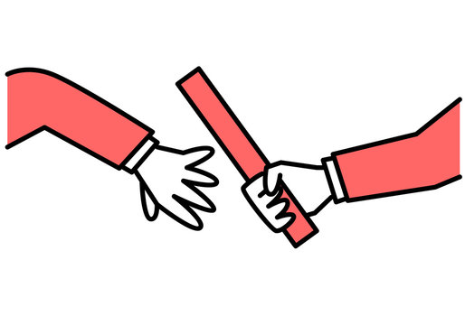 Passing the baton. Vector illustration.