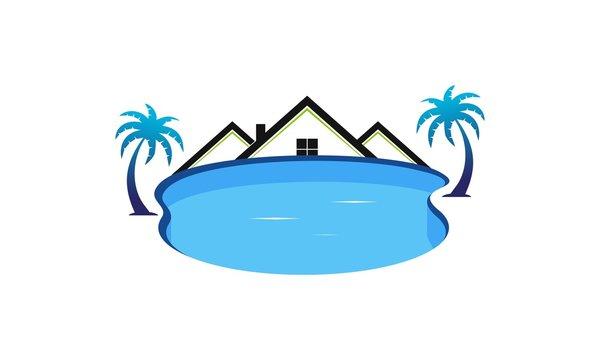 Swimming pool service logo design vector
