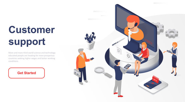 Isometric landing page customer support or service flat concept. Digital user support at any time for website or homepage. Isometric vector illustration template.