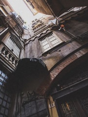 An ancient house in the largest medieval town in Europe Genova in Italy
