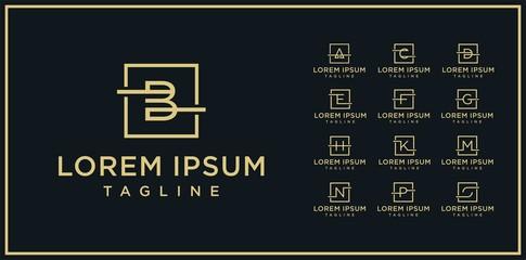 Obraz set of square line logo design template - fototapety do salonu