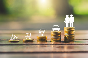 investment concept insurance for family. stack coin with couple man and woman with money saving for lifestyle travel shopping home and cars build the future.