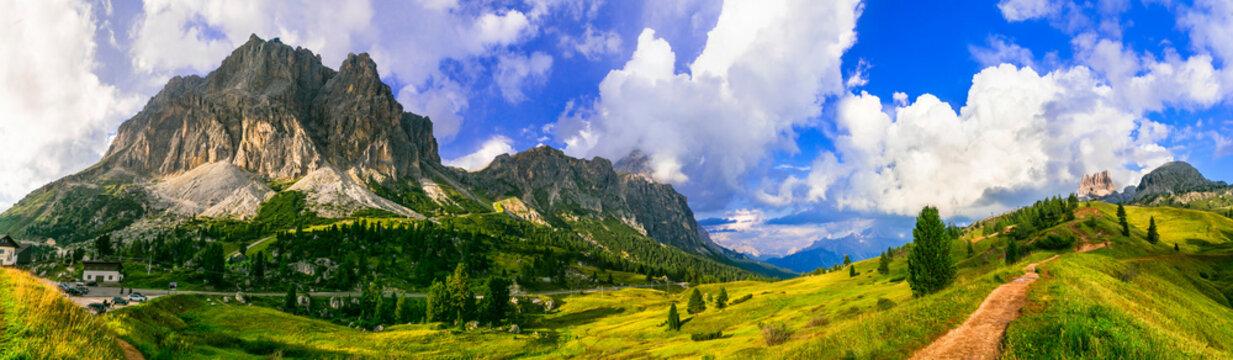 Breathtaking Alpine scenery, Dolomite mountains. beautiful valley near Cortina d'Ampezzo, northen Italy