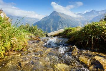 Wall Mural - frisches Quellwasser in den Bergen im Zillertal in Tirol