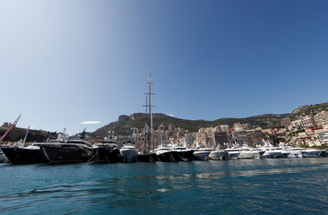 Luxury boats are seen during the Monaco Yacht Show, one of the most prestigious pleasure boat shows in the world, highlighting hundreds of yachts for the luxury yachting industry in port of Monaco