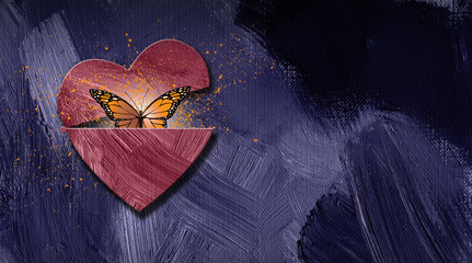 Graphic abstract butterfly escapes opening heart background