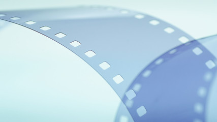 Blue film strip background abstract close-up