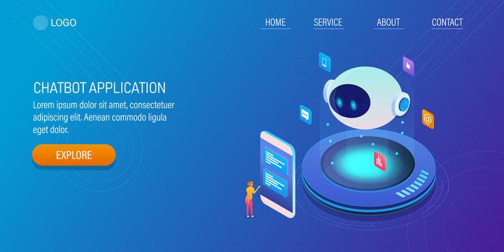 Smart virtual assistance, artificial intelligence, chat bot app, user communicating with bot via messenger app, internet technology 3d isometric design concept.