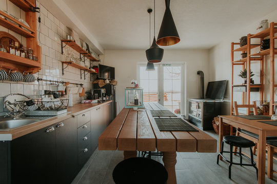 Creative dining room and kitchen in a small house.