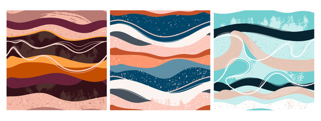 Wall Mural - Set of three hand drawn abstract contemporary seamless patterns. Smooth lines. Stone texture. Modern trendy colorful illustration in vector. Marbleized effect. Every pattern is isolated