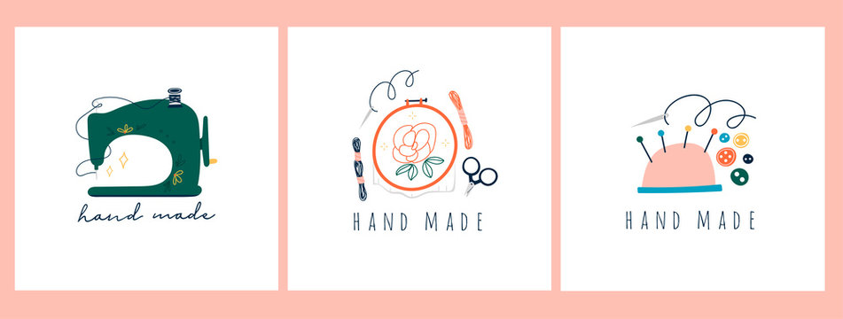 Needlework concept. Embroidery hoop, sewing machine, scissors, threads. Trendy vector illustrations. Pre-made logos for your own design. Isolated on white background. Cartoon style. Flat design