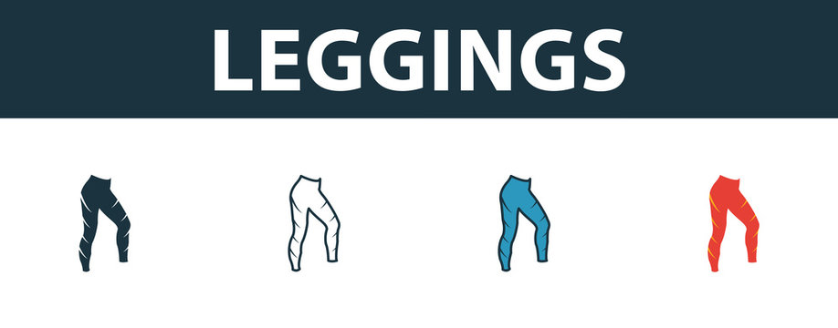 Leggings icon set. Premium symbol in different styles from fitness icons collection. Creative leggings icon filled, outline, colored and flat symbols