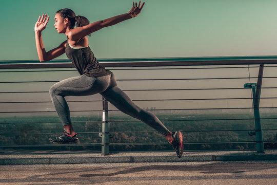 Taking running speed to the next level stock photo