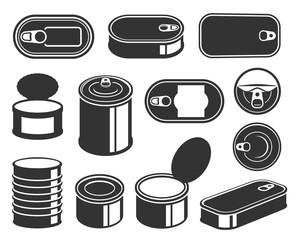 Tin cans black glyph icons vector set