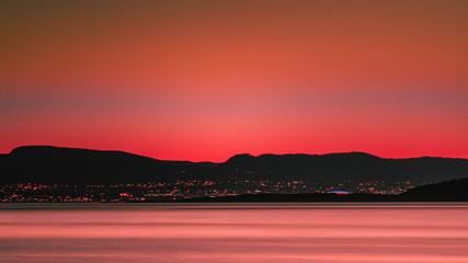 Fototapeta Zachód słońca nad Oslo w Norwegii obraz