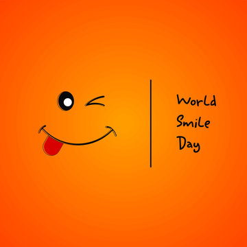 World Smile day with smile with one eye closed and tongue out cartoon vector