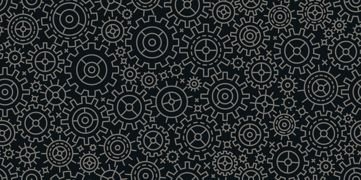 Gears seamless background. Business, industry, technology concept. Vector