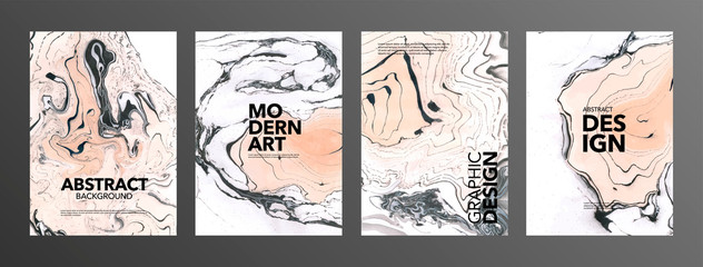 Set of creative vector marble cards. Hand Drawn textures made with special ink. Ochre, black and white marble background.