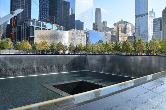 NEW YORK CITY - OCTOBER 14, 2014: National September 11 Memorial at Ground Zero