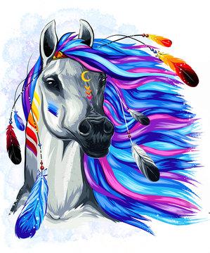 horse on blue background