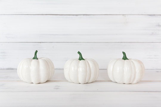 White pumpkin on white wood table with copy space.