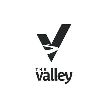 valley logo in simple V monogram style design idea