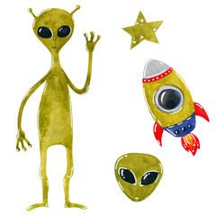 Space clipart set, alien with rocket ship, hand drawn watercolor illustration isolated on white.