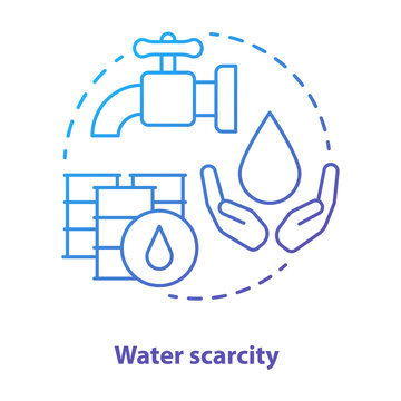 Water scarcity concept icon. Lack of clean drinking pure water idea thin line illustration in blue. Resources management and rational waste consumption. Vector isolated outline drawing