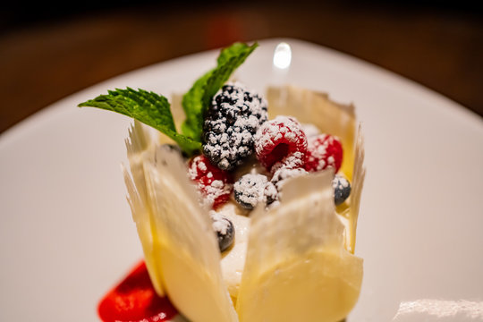 Close up shot of delicious Japanese style dessert